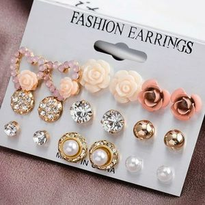 Crystal and floral earrings, 9 pair